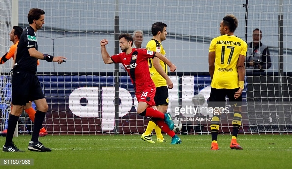 Memhmedi celebrates giving Leverkusen the lead early on | Photo: