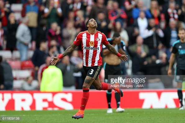 Above: Patrick van Aanholt celebrating his goal in Sunderland's 1-1 draw with West Brom | Photo: Getty Images