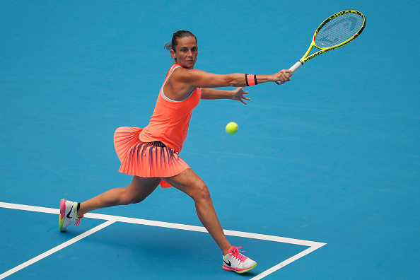 Vinci attempts a backhand slice at the China Open last month. Photo credit: Lintao Zhang/Getty Images.