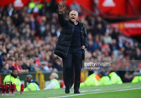 Above: Jose Mourinho on the touchline during Manchester United's 1-1 draw with Stoke | Photo: Getty Images
