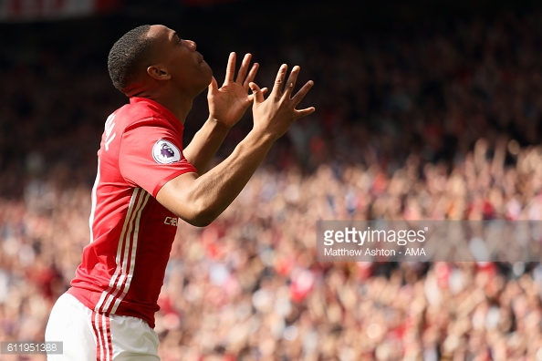 Martial celebrates his goal against Stoke last time out | Photo: Matthew Ashton - AMA / Getty Images
