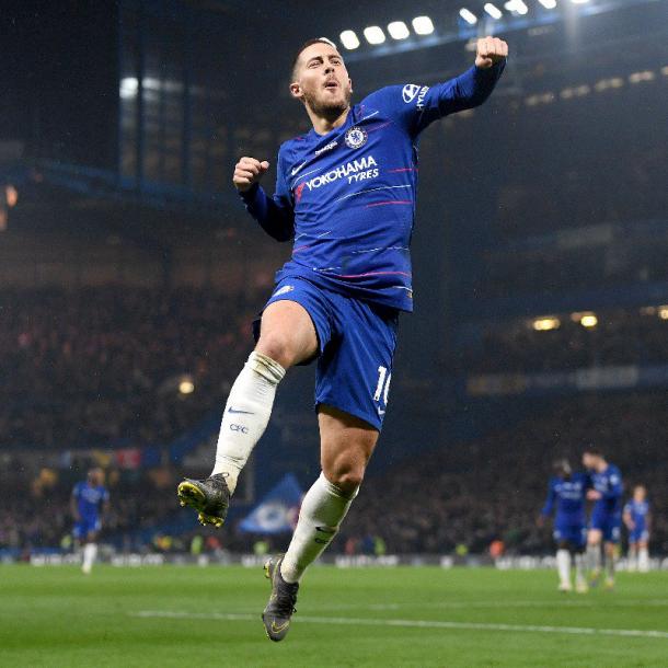 Eden Hazard celebra / Foto: Twitter oficial Chelsea