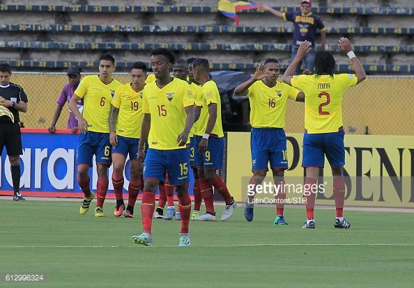 Above: Antonio Valencia celebrating his goal in Ecuador's 3-0 win over Chile   Photo: Getty Images
