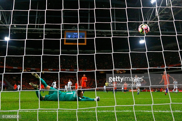 Above: Paul Pogba's effort hitting the back of the net in France's 1-0 win over the Netherlands   Photo: Getty Images