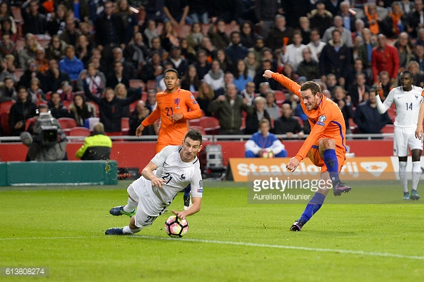 Above: Vincent Jassen's shot was blocked by Laurent Koscielny in France's 1-0 win over the Netherlands | Photo: Getty Images