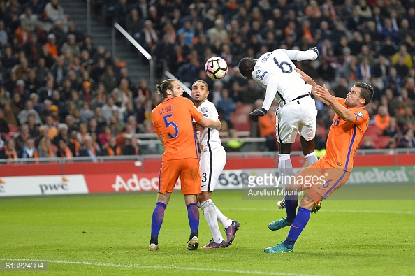 Above: Paul Pogba heading a shot towards goal in France's 1-0 win over the Netherlands   Photo: Getty Images