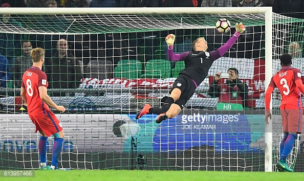 Above; Joe Hart making his great save in England's 0-0 draw with Slovenia | Photo: Getty Images