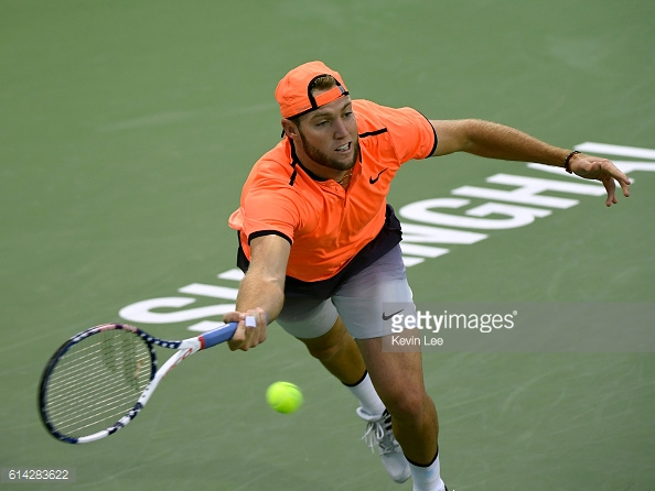 Jack Sock lunges for a forehand during his third round win over Milos Raonic/Photo: Brian Lee/Getty images