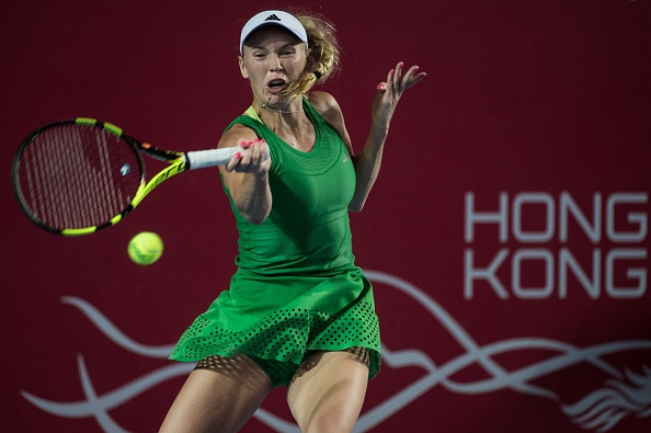 Caroline Wozniacki hits a forehand at the Prudential Hong Kong Tennis Open/Getty Images