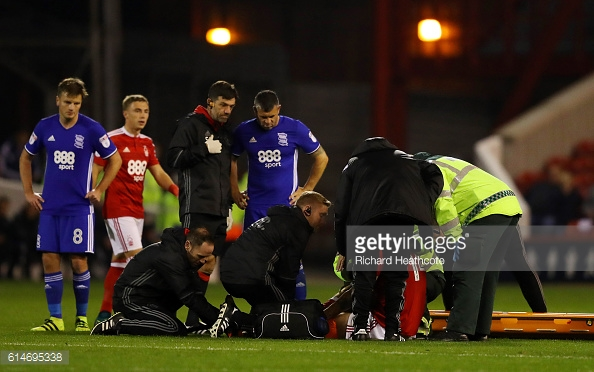Bendtner said he feared the worst after going down injured against Birmingham City in October. (picture: Getty Images / Richard Heathcote)