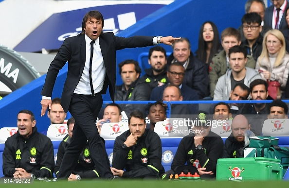 Above: Antonio Conte on the touchline during Chelsea's 3-0 win over Leicester City | Photo: Getty Images