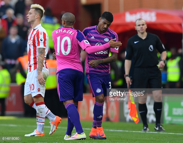 Above: Patrick van Aanholt limping off in Sunderland's 2-0 defeat to Stoke City | Photo: Getty Images