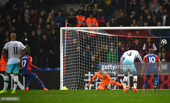 Above: Christian Benteke missing his penalty in West Ham United's 1-0 win over  Crystal Palace | Photo: Getty Images