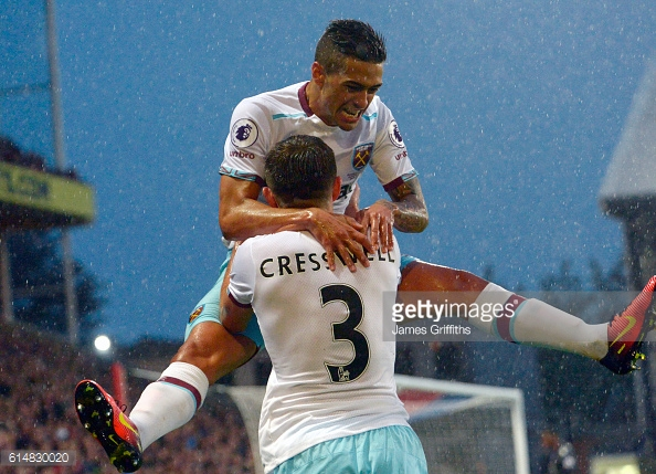 Above: Aaron Cresswell and Manuel Lanzini celebrating in West Ham's 1-0 win over Crystal Palace | Photo: Getty Images