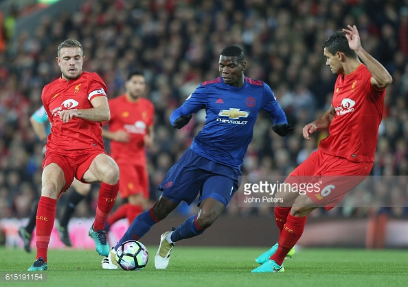 Above: Paul Pogba in action during Manchester United's 0-0 draw with Liverpool | Photo: Getty Images
