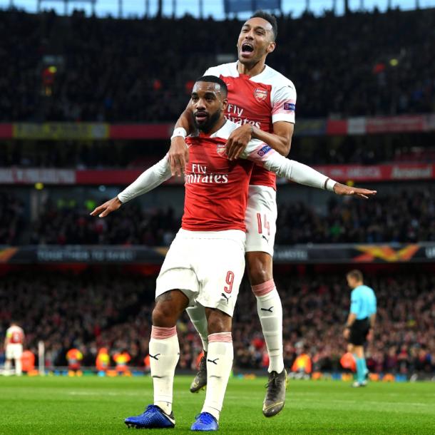 La dupla goleadora del Arsenal, Lacazette y Aubameyang / Foto: Twitter Arsenal