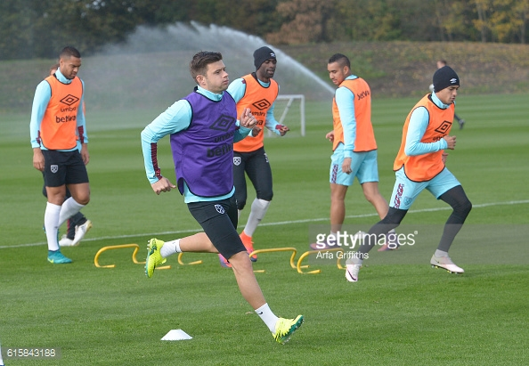 Above: West Ham's Aaron Cresswell in training ahead of their clash with Chelsea | Photo: Getty Images