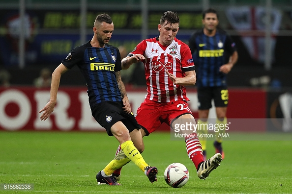 Hojbjerg battles in the reverse fixture. Photo: Getty