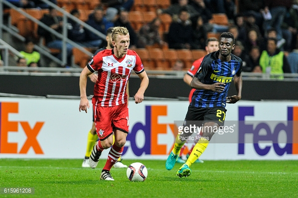 Ward-Prowse in action against Inter Milan.