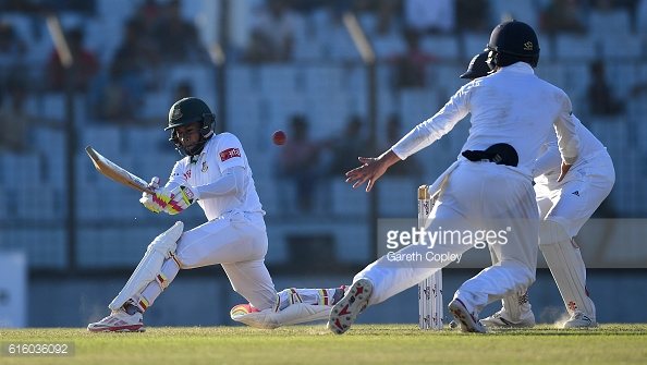 Muhsfiqur batted well during his innings of 48 | Photo: Gareth Copley / Getty Images