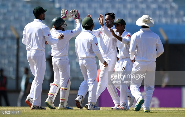 Shakib took five wickets for the hosts to give them some hope | Photo: Gareth Copley / Getty Images