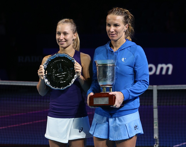 Kuznetsova and finalist Daria Gavrilova (left) pose with their silverware after the conclusion of the final in Moscow. Photo credit: Stanislav Krasilnikov/Getty Images.