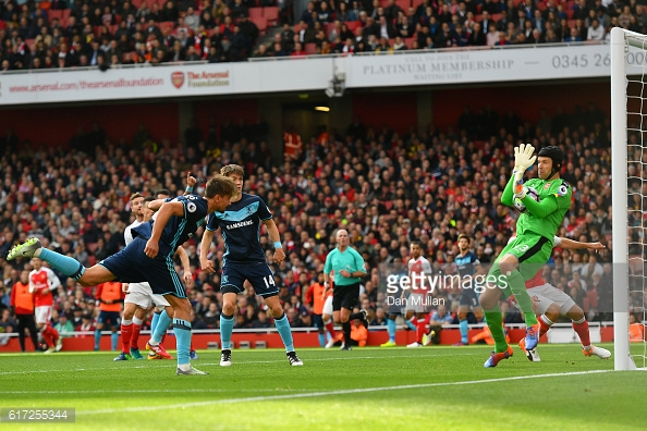 Above: Gaston Ramirez having a shot on goal in Middlesbrough's 0-0 draw with Arsenal | Photo: Getty Images