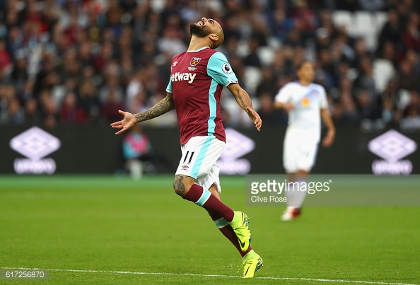Above: Simone Zaza showing his frustration in West Ham's 1-0 win over Sunderland | Photo: Getty Images