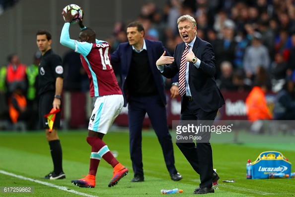 Above: David Moyes on the sideline during Sunderland's 1-0 defeat to West Ham | Photo: Getty Images
