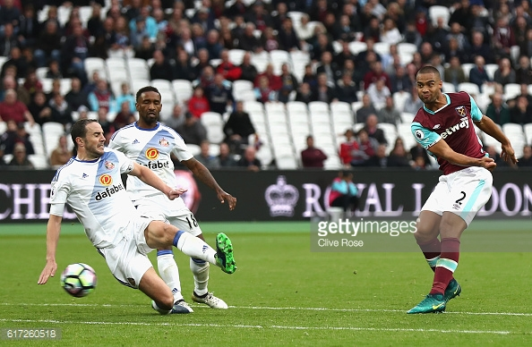 Above: Winston Reid striking home in Sunderland's 1-0 defeat to West Ham | Photo: Getty Images