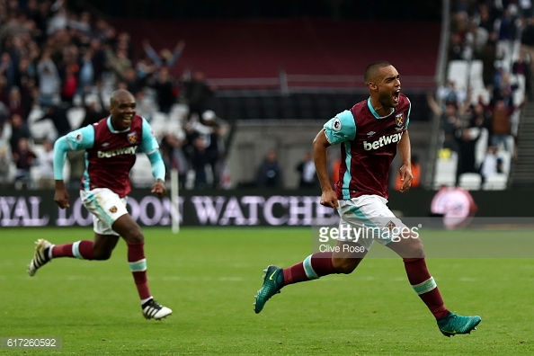 Above: Winston Reid celebrating his goal in West Ham's 1-0 win over Sunderland | Photo: Getty Images