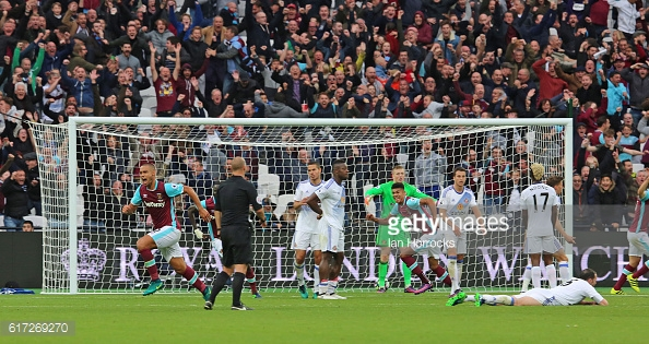 Above: Winston Reid's effort hitting the back of the net in West Ham's 1-0 win over Sunderland | Photo: Getty Images