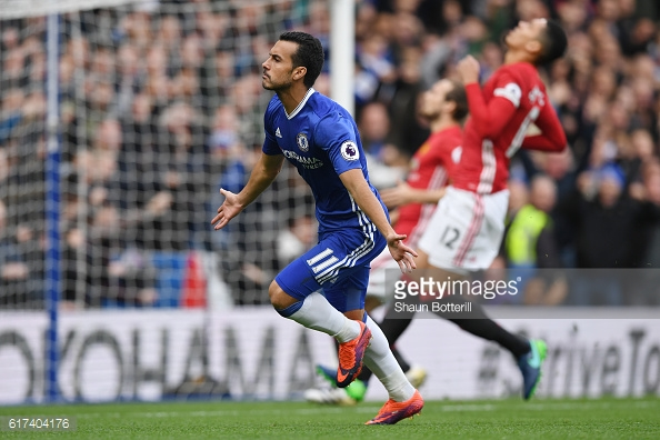 Above: Pedro celebrating his goal in Chelsea's 4-0 win over Manchester United | Photo: Getty Images