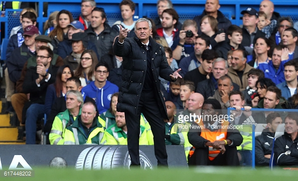 Above: Jose Mourinho on the sideline during Manchester United's 4-0 defeat to Chelsea | Photo: Getty Images