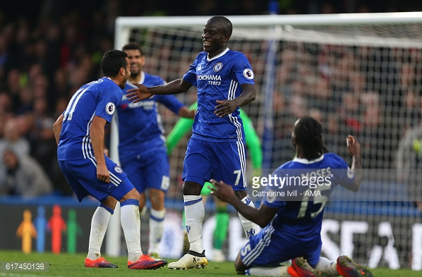 Above: N'Golo Kante been congratulated on his goal in Chelsea's 4-0 win over Manchester United | Photo: Getty Images
