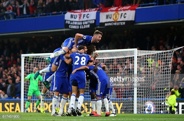 Above: Chelsea celebrating one of their four goals in their win over Manchester United | Photo: Getty Images