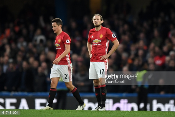 Daley Blind and Ander Herrera look on dejected during the game against Chelsea. Image credit: Getty Images