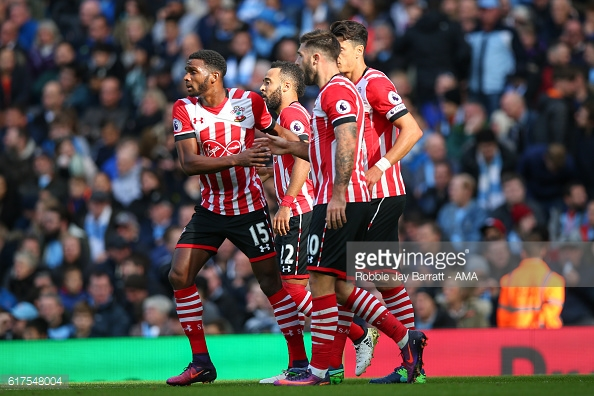 Southampton players during their draw with Manchester City. Photo: Robbie Jay Barratt/Getty