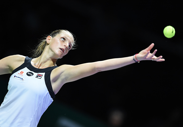 Pliskova serves out the first set | Photo: Roslan Rahman/Getty Images