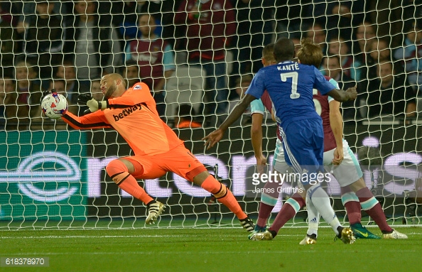 Above: Darren Randolph in action during West Ham's 2-0 win over Chelsea | Photo: Getty Images