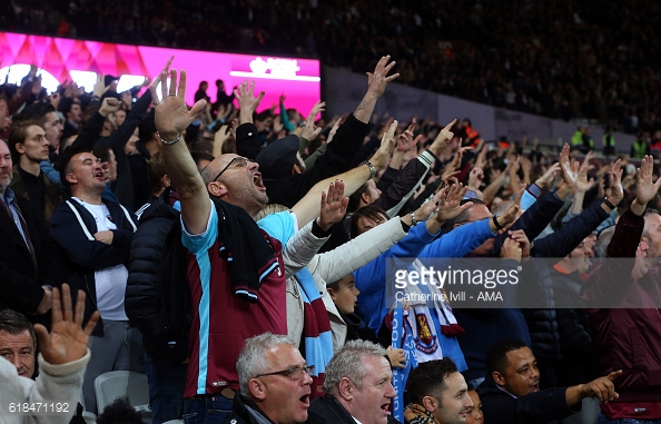 Above; West Ham United fans showing their support in their 2-1 win over Chelsea | Photo: Getty Images