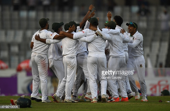 Bangladesh players celebrate their massive win | Photo: Gareth Copley / Getty Images