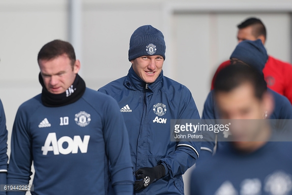 Above: Bastian Schweinsteiger in first-team training with Manchester United | Photo: Getty Images