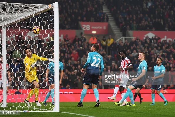 Above: Wilfried Bony scoring one of his two goals in Stoke's 3-1 win over Swansea | Photo: Getty Images