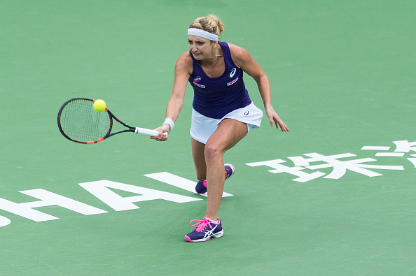 Bacsinszky in action in Zhuhai earlier today. Photo credit: Power Sport Images/Getty Images.