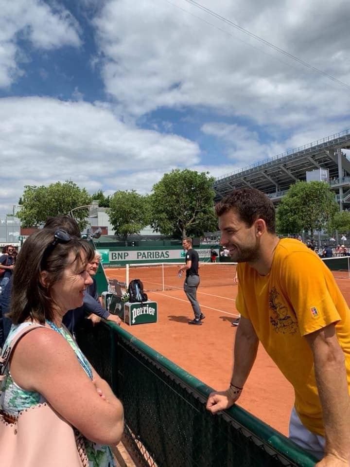 Maleeva catching up with fellow Bulgarian star Dimitrov at the French Open 2019. Photo: Manuela Maleeva Facebook
