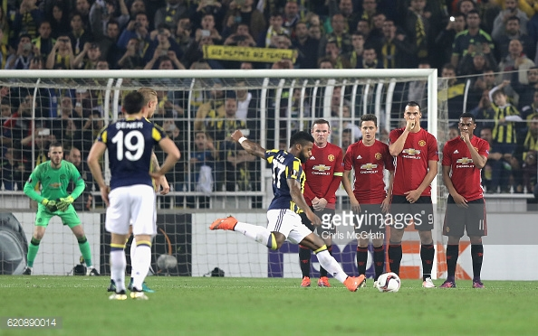 Above: Jeremain Lens taking his free-kick in Fenerbahce's 2-1 win over Manchester United | Photo: Getty Images