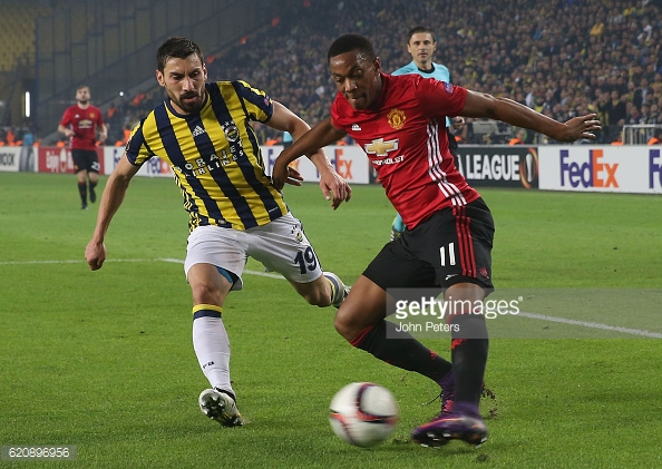 Above: Anthony Martial in action during Manchester United's 2-1 defeat to Fenerbahce | Photo: Getty Images