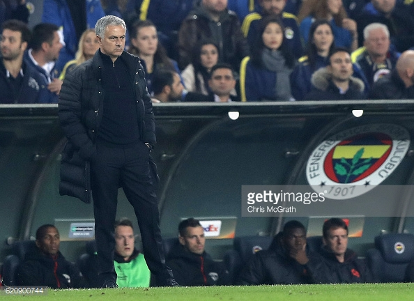 Above: Jose Mourinho on the touchline during Manchester United's 2-1 defeat to Fenerbahce | Photo: Getty Images