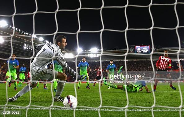 Van Dijk scores after Romeu's effort comes back off the bar. Photo: Getty